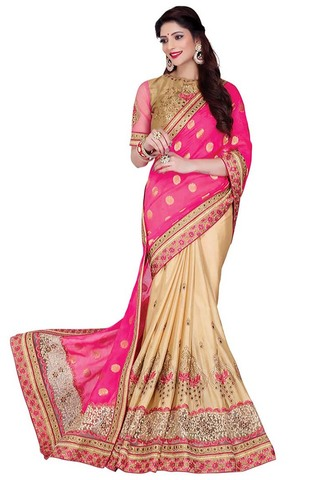 Pink and Beige Satin Chiffon Wedding Saree
