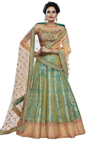 Teal and Peach Brocade Lehenga Choli