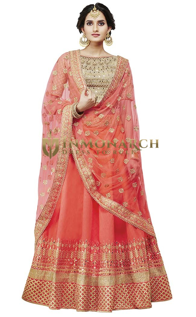 Salmon Silk Bridal Lehenga Choli