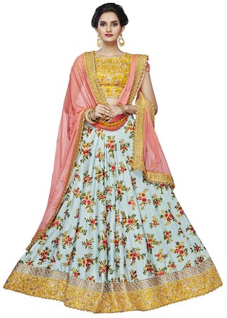 Cyan and Peach Satin Silk Lehenga Choli