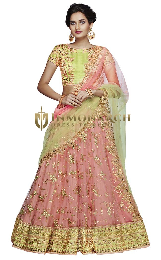Pink and Green Net Lehenga Choli