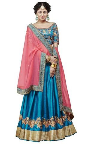 Blue and Salmon Satin Silk Lehenga