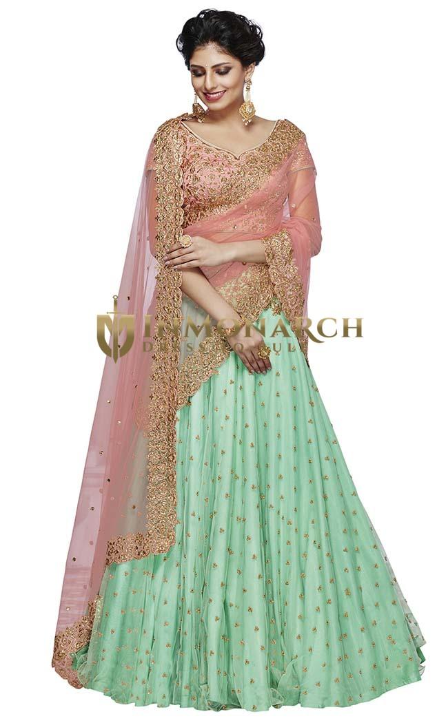 Turquoise and Peach Net Lehenga Choli