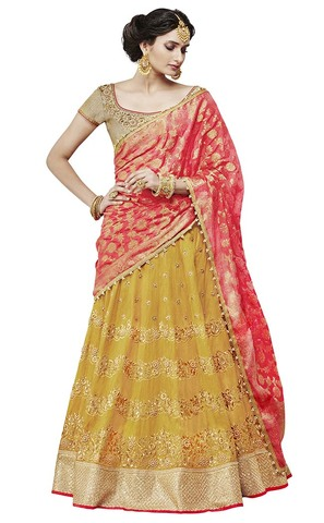 Light Yellow Silk Designer Lehenga Choli