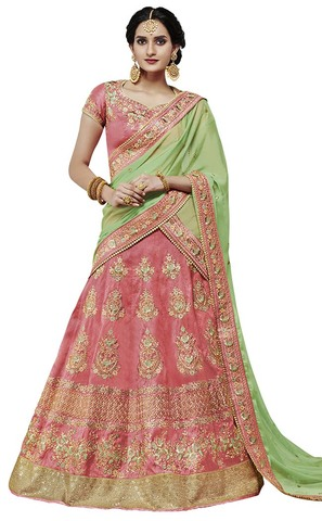 Burgundy and Green Silk Lehenga Choli
