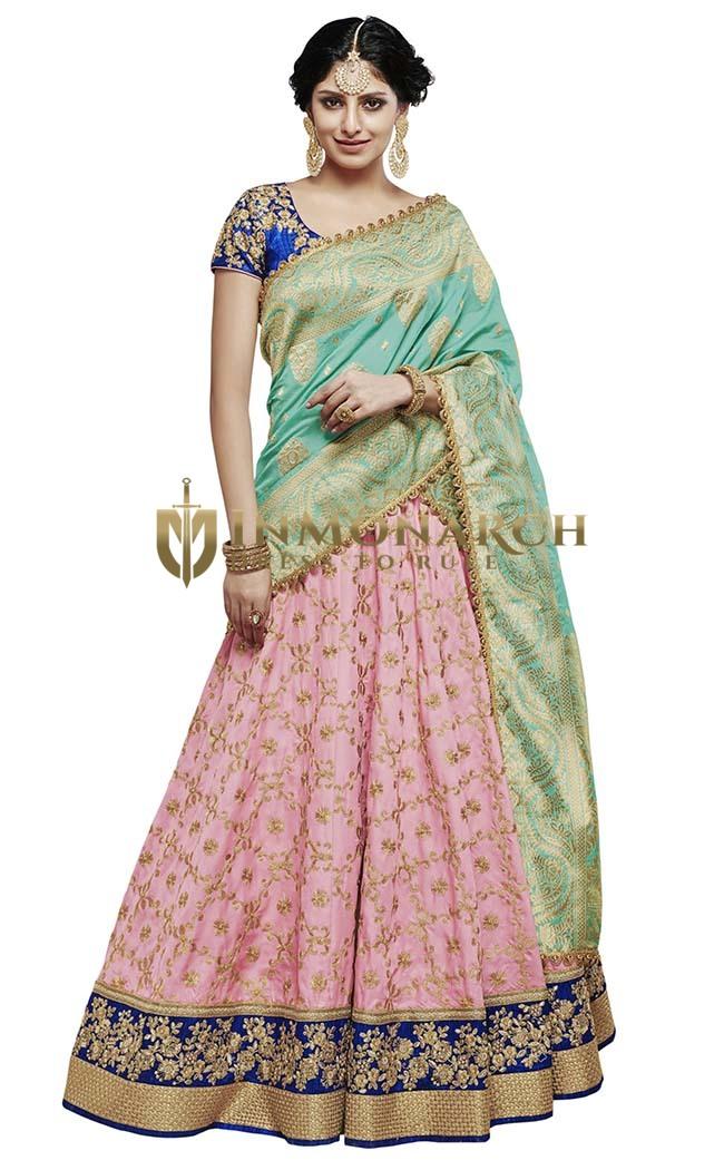 Pink Silk Indian Wedding Lehenga