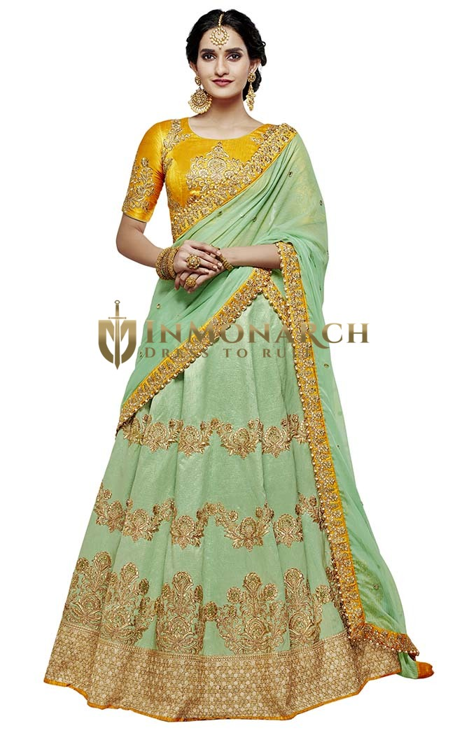 Green Silk Bridal Lehenga Choli