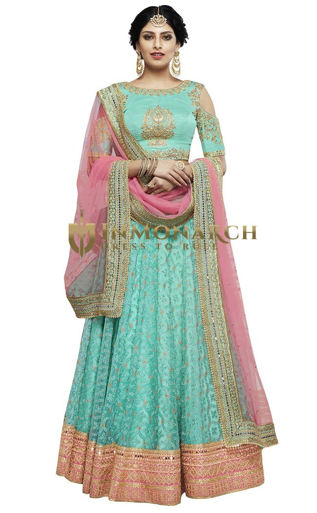 Cyan and Peach Net Lehenga Choli