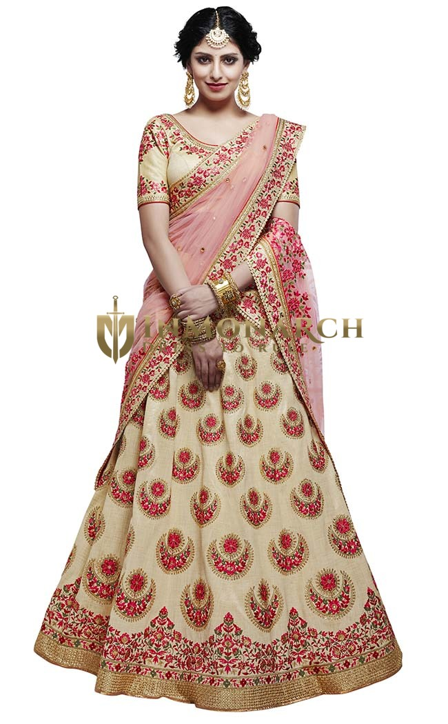 Beige and Pink Silk Lehenga Choli