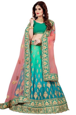 Shaded Teal and Turquoise Silk Lehenga