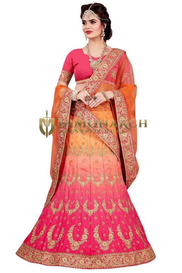 Shaded Magenta and Orange Satin Lehenga