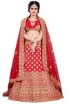 Crimson Satin Embroidered Lehenga Choli