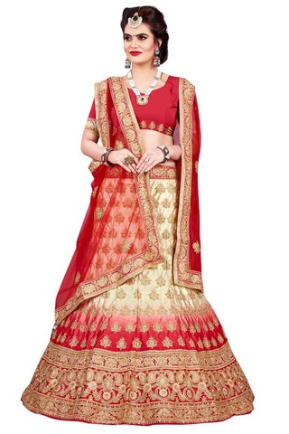 Ivory and Red Satin Lehenga Choli
