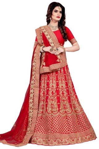 Crimson Satin Wedding Lehenga