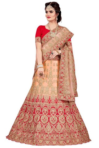 Crimson and Peach Bridal Lehenga