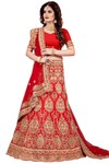 Crimson Jute Wedding Lehenga Choli