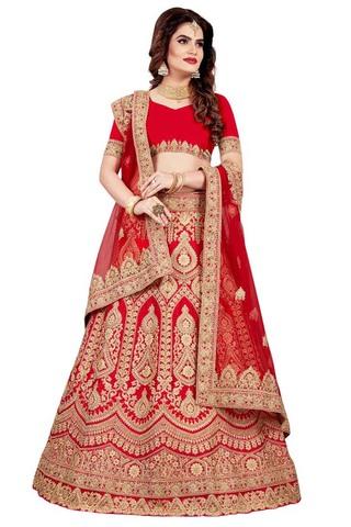 Embroidered Crimson Satin Lehenga Choli