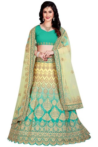 Teal and Yellow Silk Lehenga Choli
