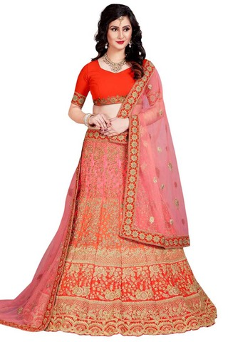 Orange and Pink Silk Lehenga Choli