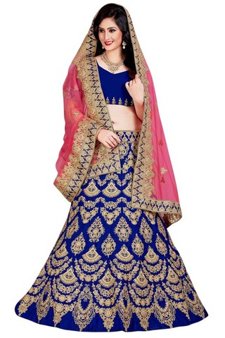 Royal Blue Silk Embroidered Lehenga Choli