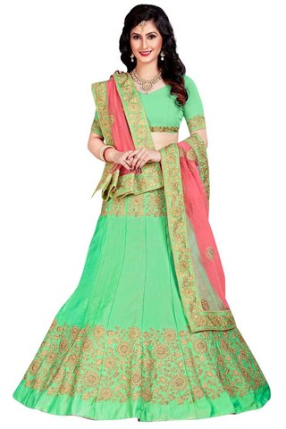 Light Green Satin Lehenga Choli