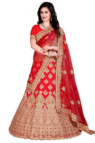 Indian Wedding Crimson Silk Lehenga