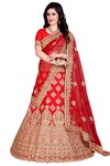 Indian Wedding Crimson Silk Lehenga