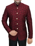 Mens Crimson Brocade 2 Pc Jodhpuri Suit