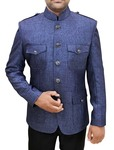 Mens Steel Blue 2 Pc Jodhpuri Suit Safari Style
