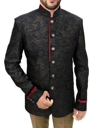 Mens Black 2 Pc Jodhpuri Suit Red Trimming