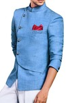 Mens Sky Blue 3 Pc Jodhpuri Suit Angrakha Look