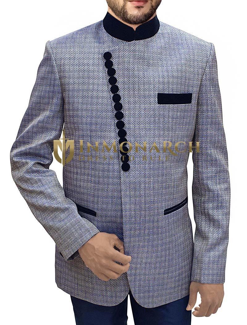 Mens Lavender 2 Pc Jodhpuri Suit Angrakha Style