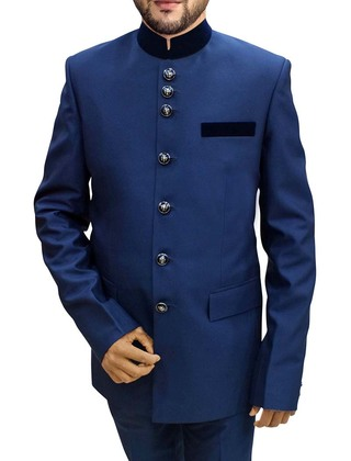 Mens Navy Blue 2 Pc Jodhpuri Suit Partywear
