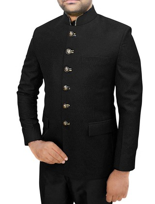 Mens Black Self Design 2 Pc Jodhpuri Suit Wedding