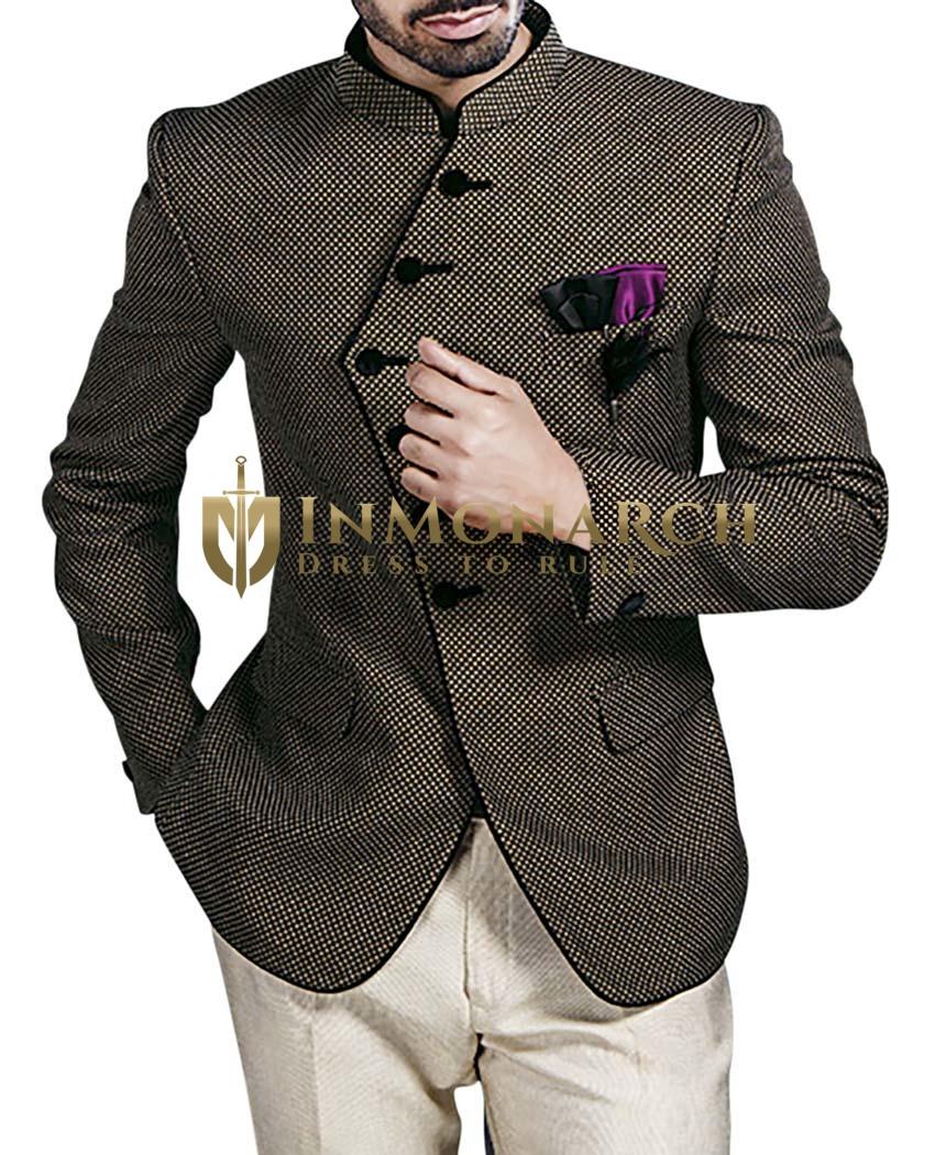 Mens Bronze and Black Jute 4 Pc Jodhpuri Suit