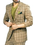 Mens Bisque 3 Pc Checks Tuxedo Suit Notched Lapel