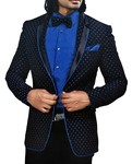 Mens Black Velvet 5 Pc Tuxedo Suit Notch Lapel