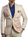 Mens Beige Polyester 4 Pc Tuxedo Suit Printed