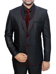 Mens Black Polyester 4 Pc Tuxedo Suit Two Button