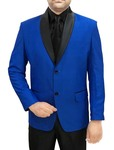Mens Blue 4 Pc Tuxedo Suit Black Shawl Lapel