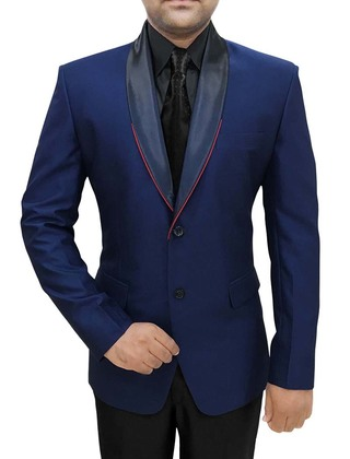 Mens Navy Blue 4 Pc Tuxedo Suit Shawl Collar