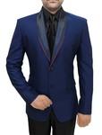 Mens Navy Blue 4 Pc Tuxedo Suit Shawl Collar
