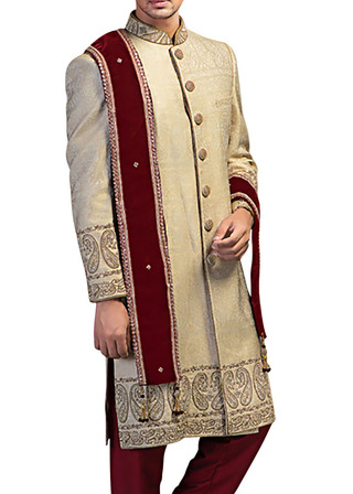 Mens Beige Brocade 3 Pc Sherwani Paisley Embroidered