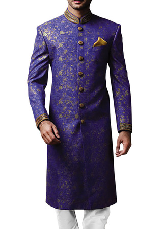 Mens Royal Blue Polyester 3 Pc Sherwani Embroidered