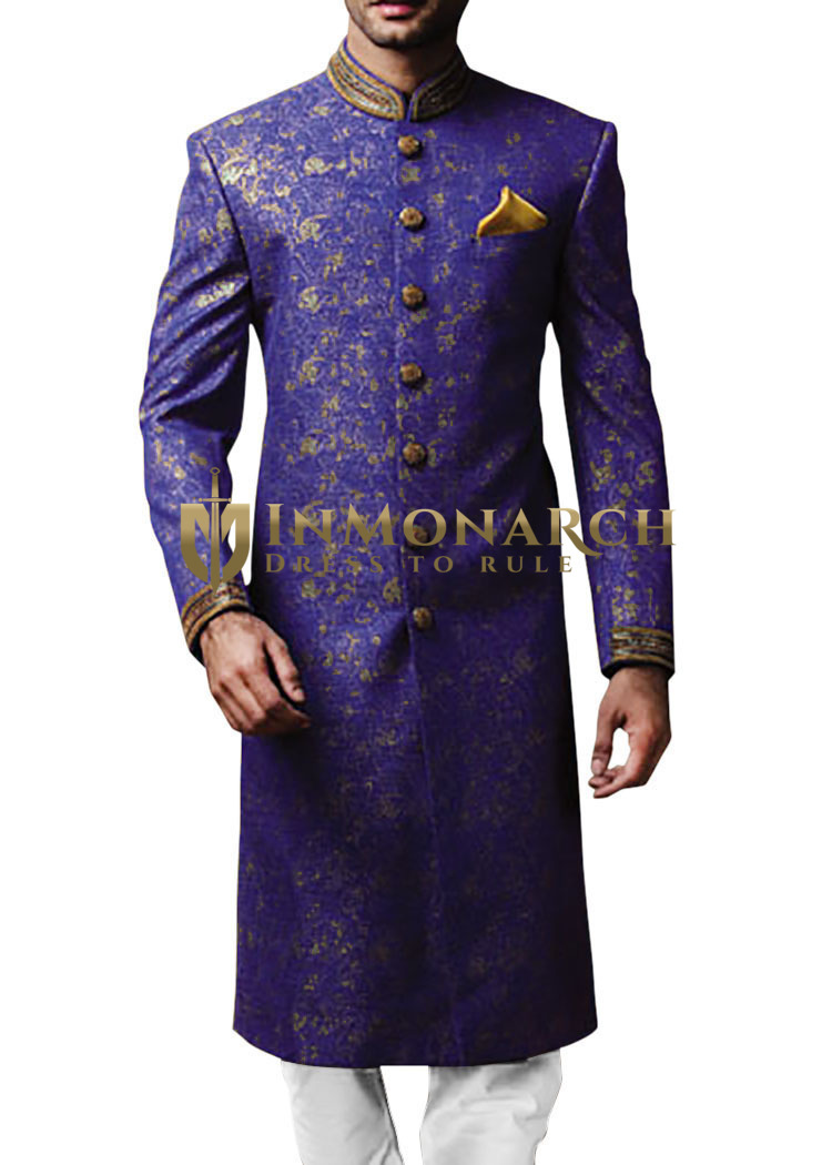 Mens Indian Suit Royal Blue Sherwani For Men Embroidered