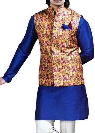 Mens Royal Blue 4 Pc Kurta Pyjama Partywear