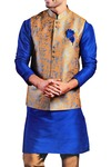Kurta Pajama for Men Royal Blue Dupion 5 Pc Kurta Pyjama Wedding Sherwani
