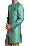 Indian Wedding Clothes for Men Teal Indowestern Sherwani Paisley Pattern