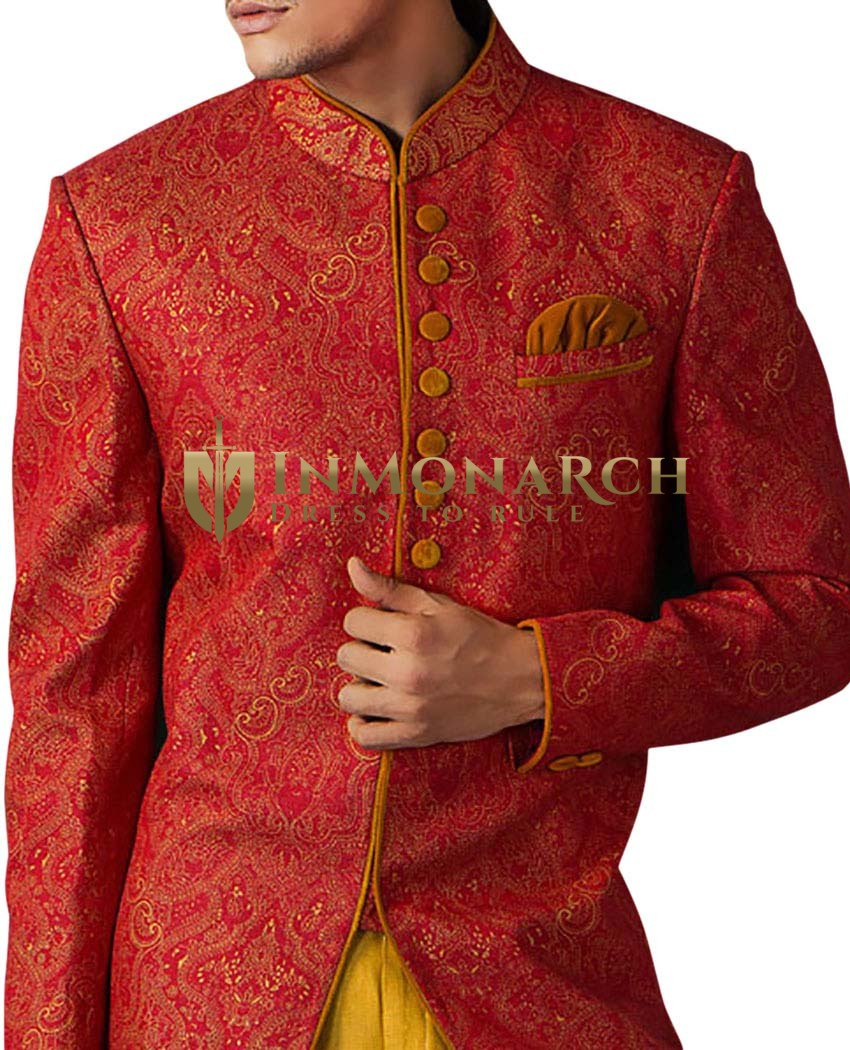 Mens Sherwani Crimson Indowestern Indian Wedding for Men