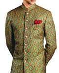 Wedding Sherwani Golden and Teal Indowestern Sherwani for Men Partywear